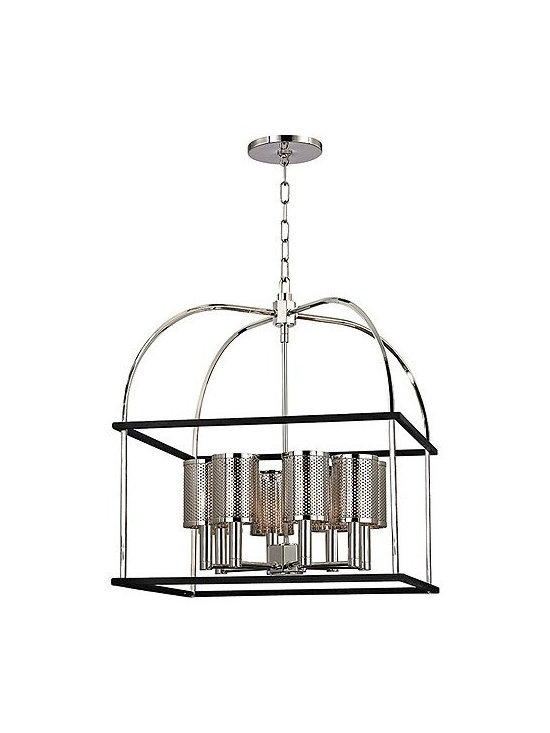 """Hudson Valley Lighting - Hudson Valley Lighting   Vestal Eight Light Chandelier - Design by Hudson Valley, 2014.Structured as a vaulted lantern, the Vestal Eight Light Chandelier illuminates from eight metal shaded sockets with Machine Age accents. Framed by a black textured iron cage, Vestal's perforated metal shades flex industrial strength from within the pendant's curved arches. Screw on shade attachments. Supplied with a 54"""" chain."""