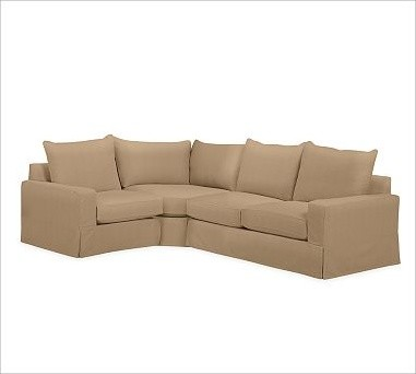 PB Comfort Square Arm Slipcovered Right 3-Piece Wedge Sectional, Knife-Edge Cush traditional-decorative-pillows