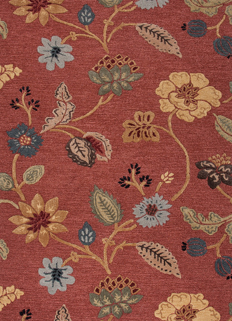 Transitional Floral Pattern Red /Orange Wool/Silk Tufted Rug - BL05, 8x11 transitional-area-rugs