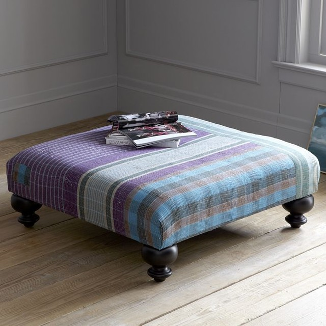Essex Kantha Ottoman - Plaid eclectic-footstools-and-ottomans