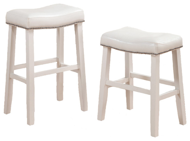 2 Barstools Faux Leather Saddle Nailhead Trim White