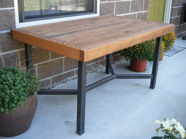 Dining table oak with welded steel legs by two brothers for Dining table with metal legs