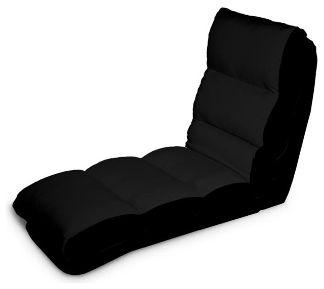 Turbo convertible chaise lounger in black contemporary for Black chaise lounge indoor