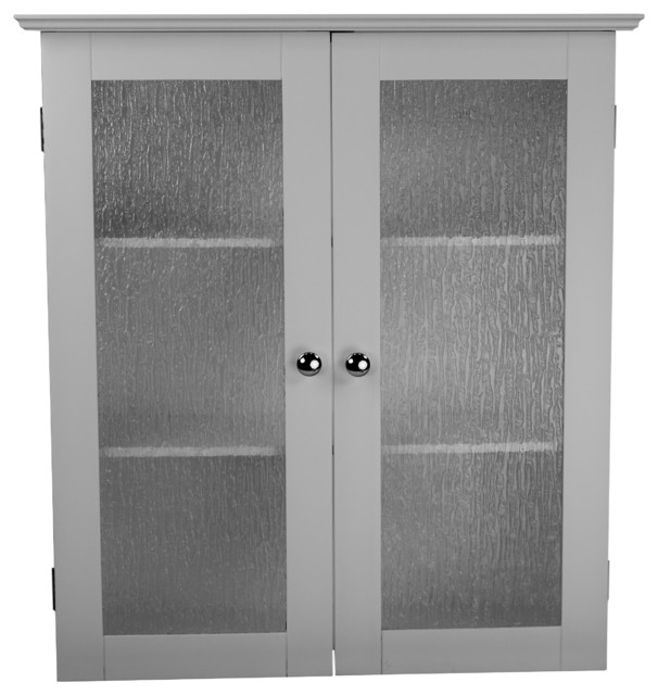 Highland White Double Glass Door Wall Cabinet Contemporary Kitchen Cabinetry By