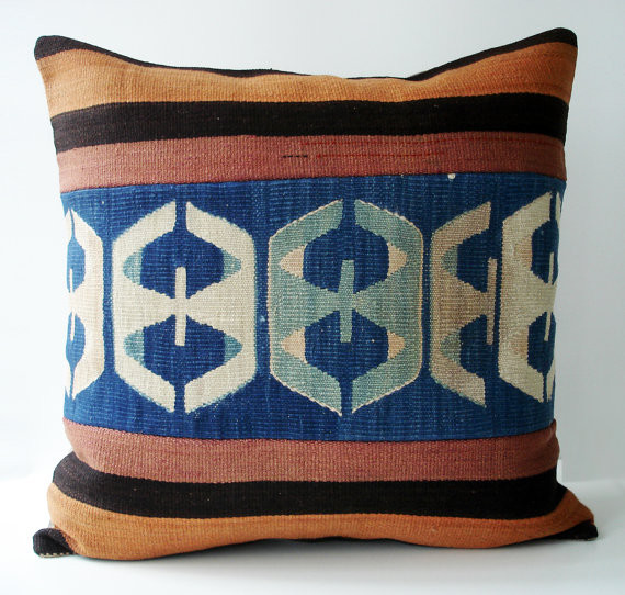 Hand Woven Turkish Antique Patchwork Pillow mediterranean pillows