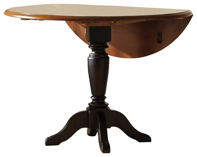 Liberty furniture low country black 42 inch round drop for Black dining table with leaf