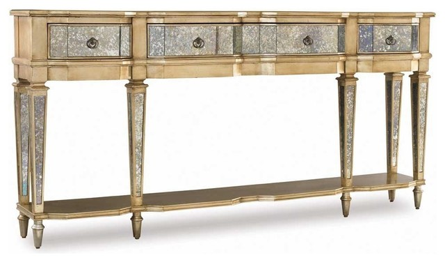 Hooker Furniture Sanctuary Four Drawer Thin Console in Antique Mirror & Gold contemporary side tables and accent tables