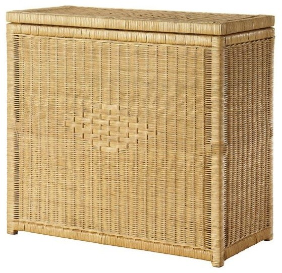 Rattan double bin laundry hamper traditional hampers - Rattan laundry hamper ...