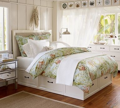 Stratton storage bed with drawers king cal king antique white traditional beds by - Cal king bed with drawers ...