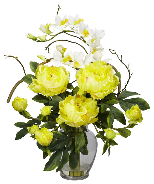 Nearly Natural Peony and Orchid Silk Flower Arrangement in Yellow traditional-artificial-flowers-plants-and-trees