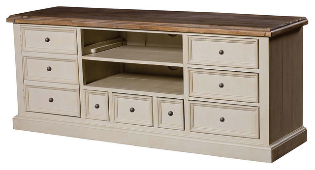 Cottage TV Cabinet-White - Beach Style - Entertainment ...