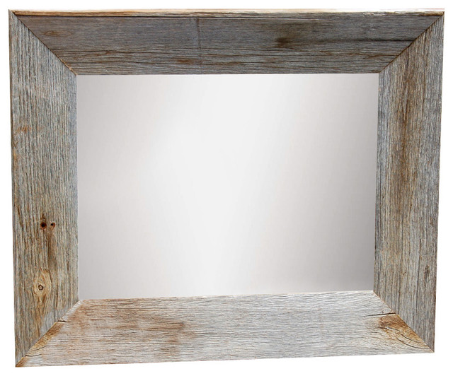 Rustic Mirror 24x36 Mirror With Beveled Barn Wood Frame
