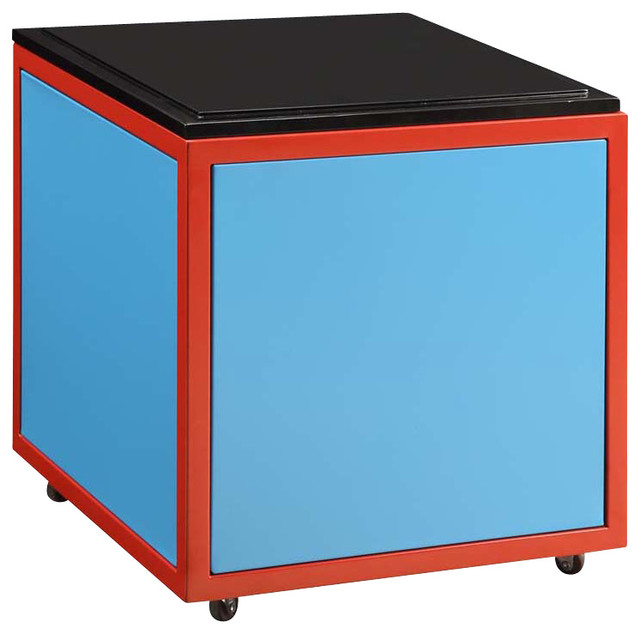 Youth Colorful Red Blue Black Square Storage Ottoman Nightstand with Casters - Contemporary ...