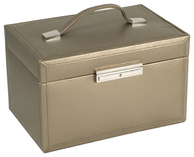 Queen's Court Medium Jewelry Case, Bronze traditional-jewelry-boxes-and-organizers