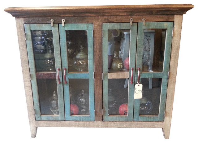 Antique Multi Color Pine Console Cabinet w/4 Doors ...