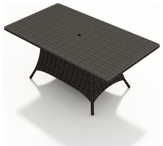 Capistrano 72 in. Rectangular Patio Dining Table, Mocha Wicker modern-outdoor-dining-tables