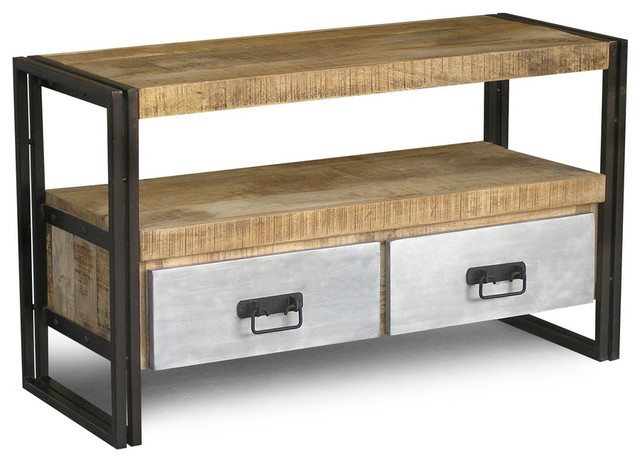 Reclaimed Wood And Iron Tv Console With Metal Drawers Eclectic Entertainment Centers And Tv