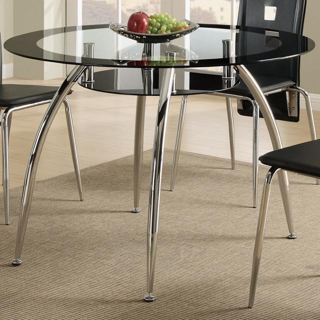 Bobkona round glass top black edge dining table - Black glass top dining table ...