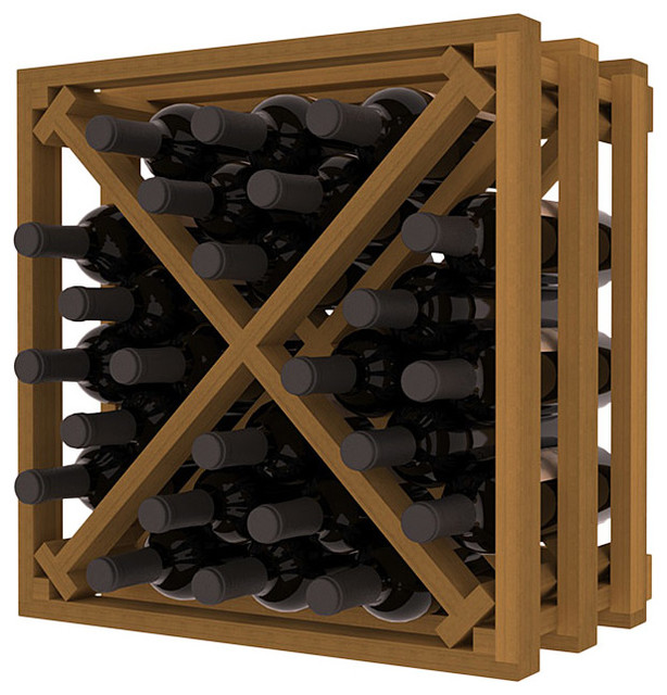Lattice Stacking X Wine Cube in Redwood with Oak Stain traditional-wine-racks