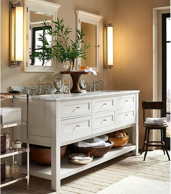 Classic Double Sink Console White Traditional Bathroom Vanity Units Sink Cabinets