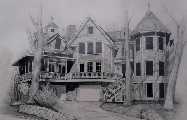 1 of 4 house portraits created in pencil eclectic-rendering