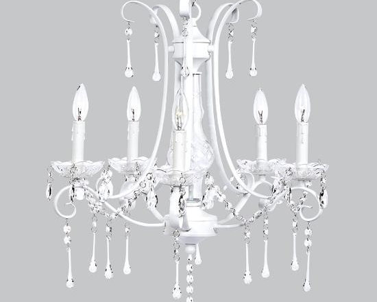 Belle & June - Colleen Chandelier White - This strikingly elegant 5-arm ivory chandelier features dripping crystals and a glass center. Create a space fit for a princess and hang this in your little girls bedroom.