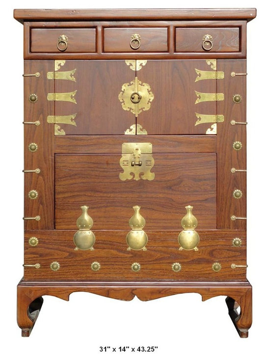 Chinese Brown Color Bronze Gourd Motif Wooden Cabinet - This unique cabinet is made of solid elm wood and comes with bronze hardware and gourd shape decoration.