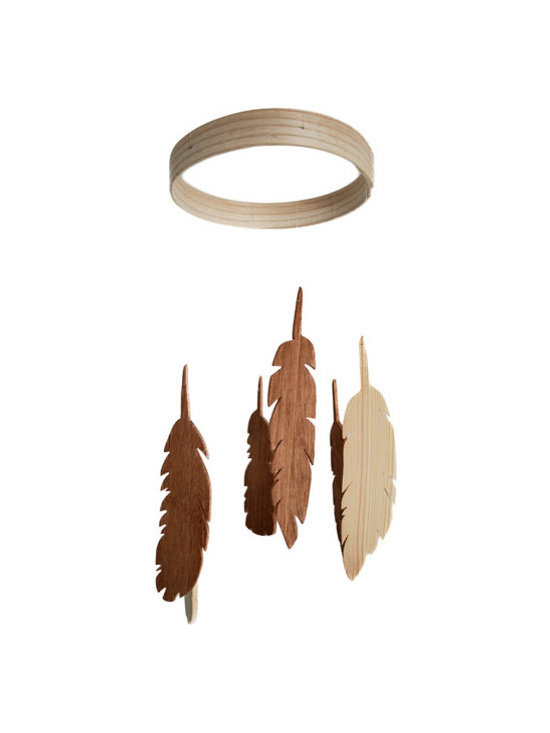 Feather Wooden Mobile by The Red Bird Shop -