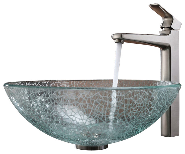 Kraus Mosaic Glass Vessel Sink and Virtus Faucet Brushed Nickel modern ...