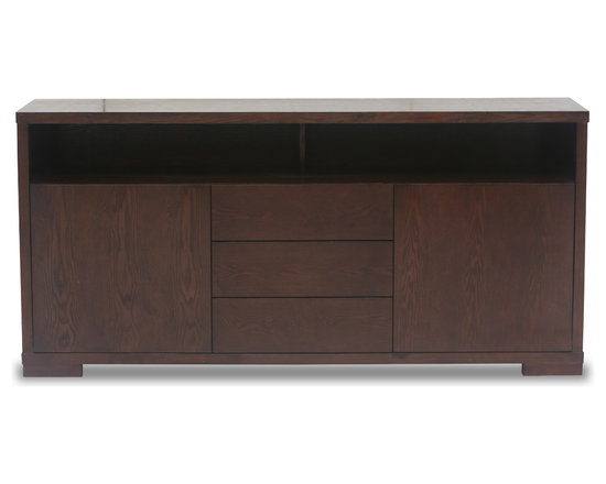 Bryght - Jairo Light Cappuccino Sideboard - Beautiful and sturdy, the Jairo sideboard offers utility and understated elegance with its feel good and beautiful construction in an elegant Light Cappuccino stain. Multi storage options in this mid century modern server offer versatility while enhancing your living space to suit your needs