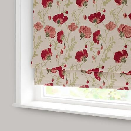Red Poppy Chenille Blackout Roman Blind Traditional