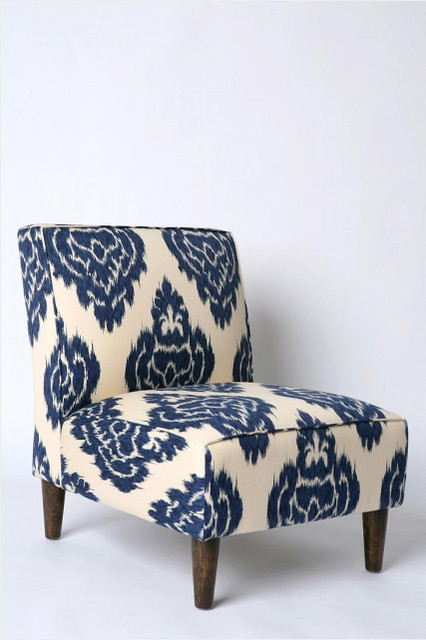 Indigo Ikat Slipper Chair eclectic-chairs