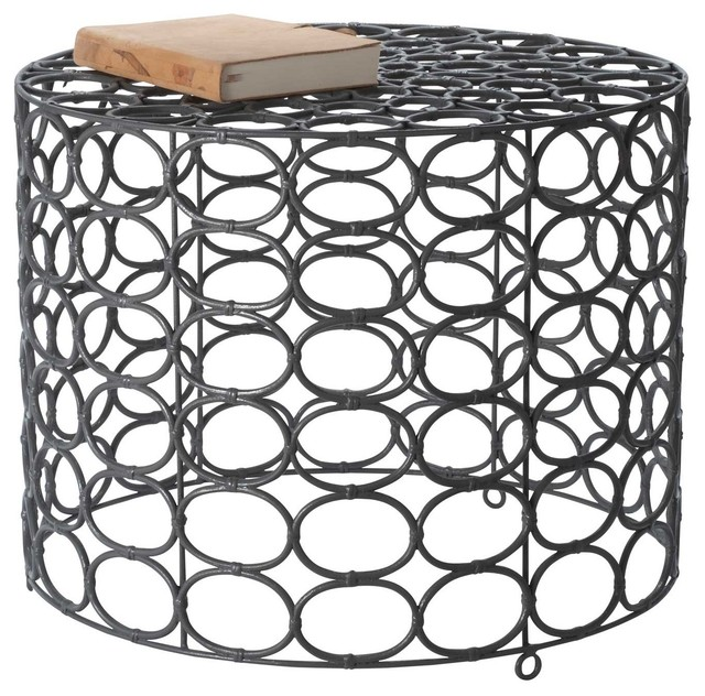 Weathered Gray Oval Ring Side Table contemporary-side-tables-and-end-tables