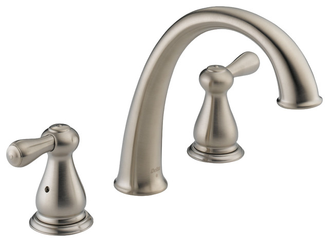 Leland J-Spout Roman Tub Faucet Trim in Stainless contemporary-bathroom-faucets-and-showerheads