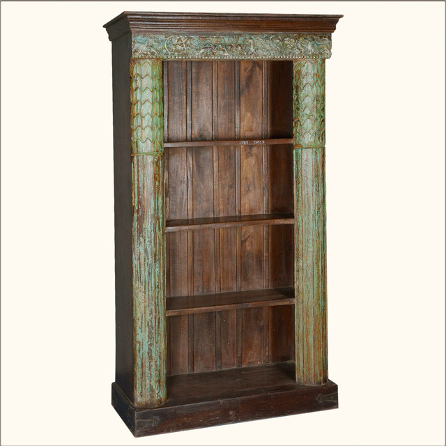 Greek Column Reclaimed Wood 4-Shelf Open Display Bookcase traditional ...