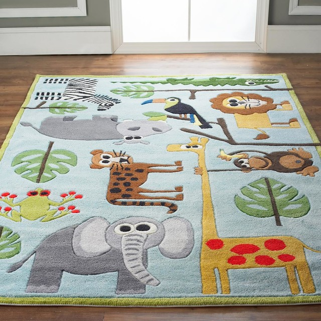 Dog Themed Outdoor Rugs: Whimsical Safari Animals Rug