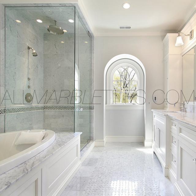 Http Www Houzz Com Photos 7166573 Bianco Carrara Tile Design Ideas Contemporary New York