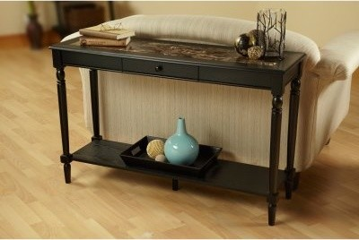 Convenience Concepts French Country Faux Marble Console Table with Drawer and Sh modern-coffee-tables