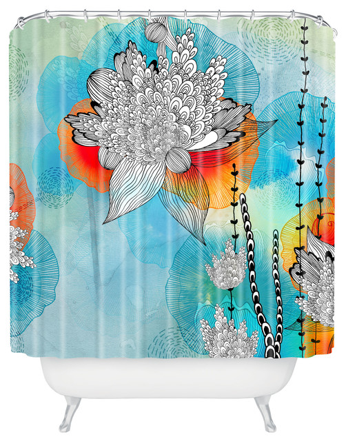 Iveta Abolina Coral Shower Curtain Contemporary Shower Curtains By Deny Designs