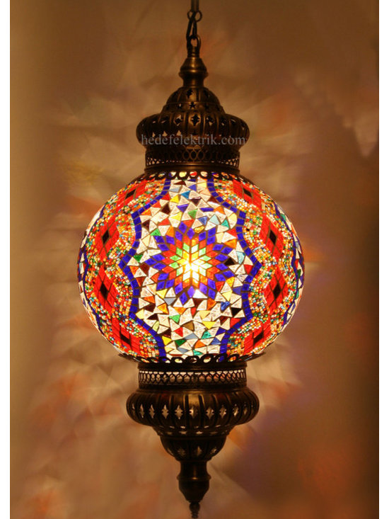 Turkish Style Mosaic Pendant Lamp 25 cm - Mosaic lamps are made of original colour of glasses. When the lamp is lit, the glasses cause colorful shades, which can suddenly change the ambiance of a room by its inspiring view. Noe of the glasses are painted nor applied a transaction. Each parts of the lamp are handmade.