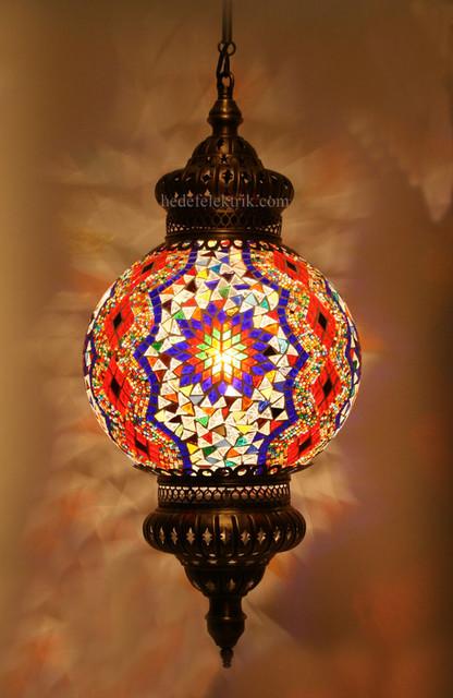 Turkish Style Mosaic Pendant Lamp 25 Cm Mediterranean
