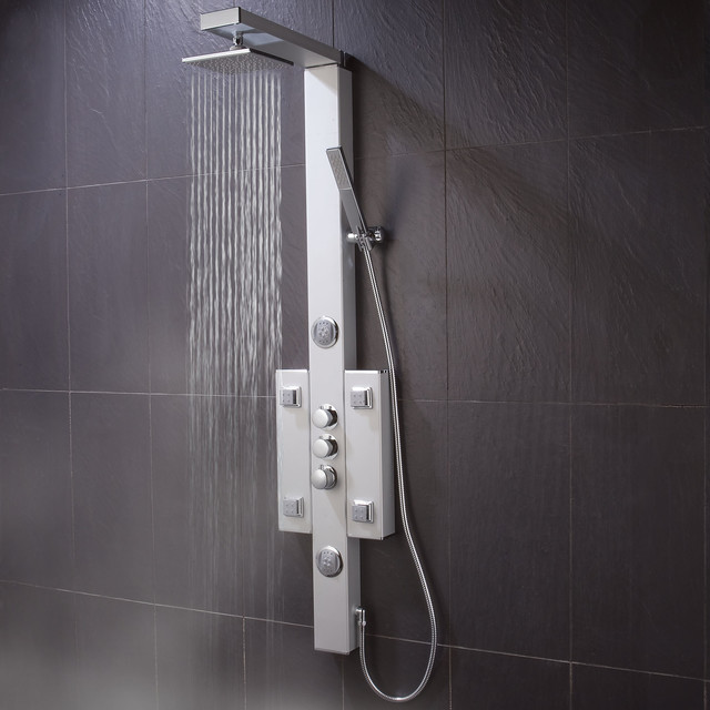 Shower tower panel system with body sprays contemporary for Body spray shower systems
