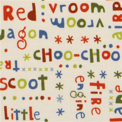 cream Riley Blake fabric Scoot with colourful words  fabric