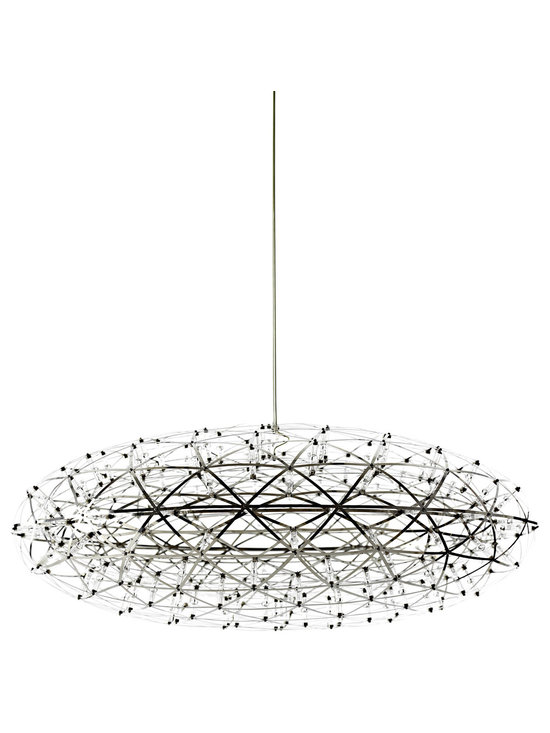 Moooi - Raimond Zafu LED Suspension - Raimond Zafu non-dimmable suspension features a disc-shaped stainless spring-steel frame in a stainless steel finish. Includes power supply located in the canopy. Available in an oval and sphere shaped option. Also available in dimmable version. Features 510 lumens with a CRI of 71. Supplied with 162 LEDs with a power consumption of 30 watts. 120 volt. 2700K color temperature. Equivalent to 60 watt incandescent lamp. General light distribution. c/UL listed. 29.5 inch diameter x 12 inch height. Includes 156 inch field adjustable suspension cable.