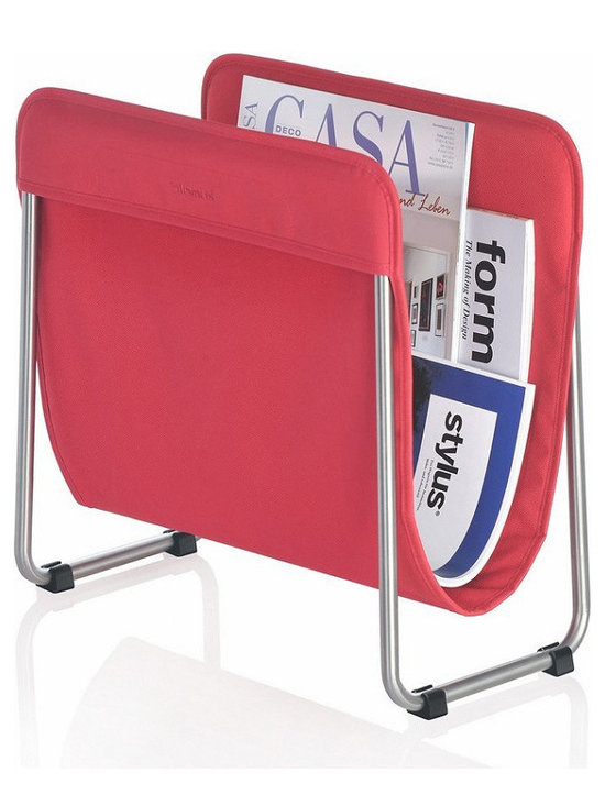 Blomus - Levio Magazine Rack - Red - The Blomus Levio Magazine Rack in Bright Colors is made with brushed, matte-finished stainless steel and synthetic fiber.