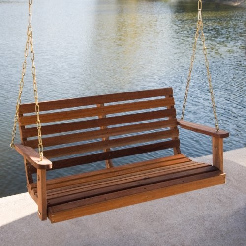 Rainbow Arts Bay Ridge Wood Porch Swing traditional outdoor swingsets