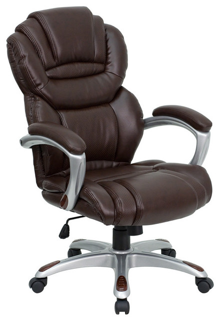 high back brown leather executive office chair with leather padded