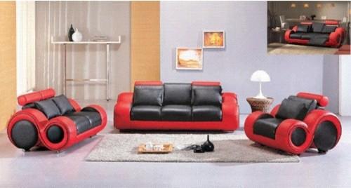 hematite 3 piece leather sofa set in black red modern living room furniture sets by. Black Bedroom Furniture Sets. Home Design Ideas