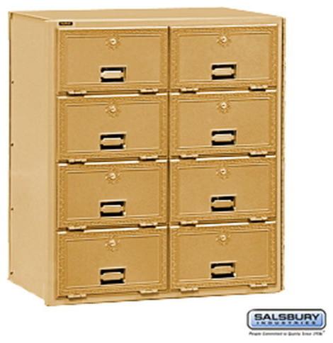 Brass Mailbox - 8 Doors - Rear Loading modern-mailboxes