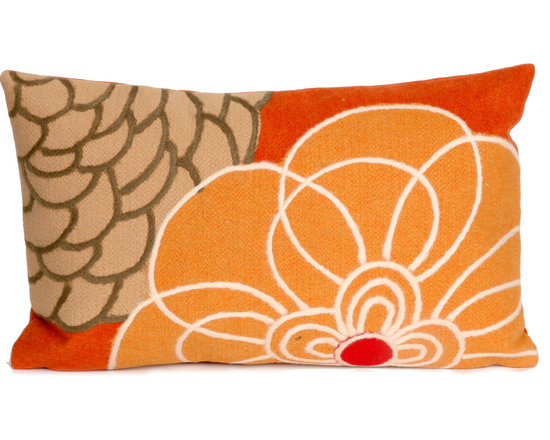 """Trans-Ocean Outdoor Pillows - Trans-Ocean Liora Manne Disco Orange - 12"""" x 20"""" - Designer Liora Manne's newest line of toss pillows are made using a unique, patented Lamontage process combining handmade artistry with high tech processing. The 100% polyester microfibers are intricately structured by hand and then mechanically interlocked by needle-punching to create non-woven textiles that resemble felt. The 100% polyester microfiber results in an extra-soft hand with unsurpassed durability."""